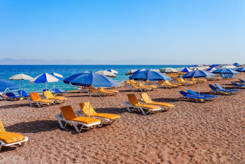 Paesaggio dello skyview del mare della spiaggia di Elle sull'isola di Rodi, Dodecanese, Grecia Panorama con la spiaggia di sabbia fotografia stock