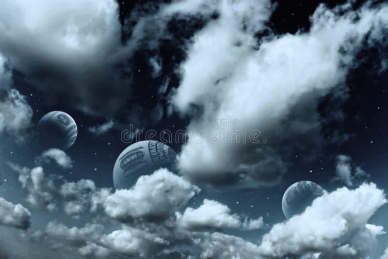 Paesaggio dello spazio con i pianeti e le stelle illustrazione di stock