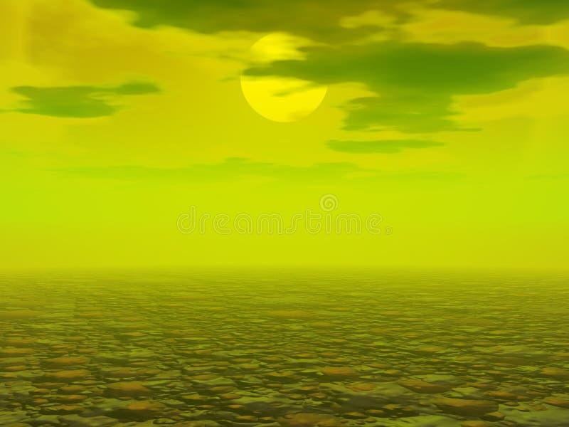 Paesaggio desolato inquinante illustrazione di stock