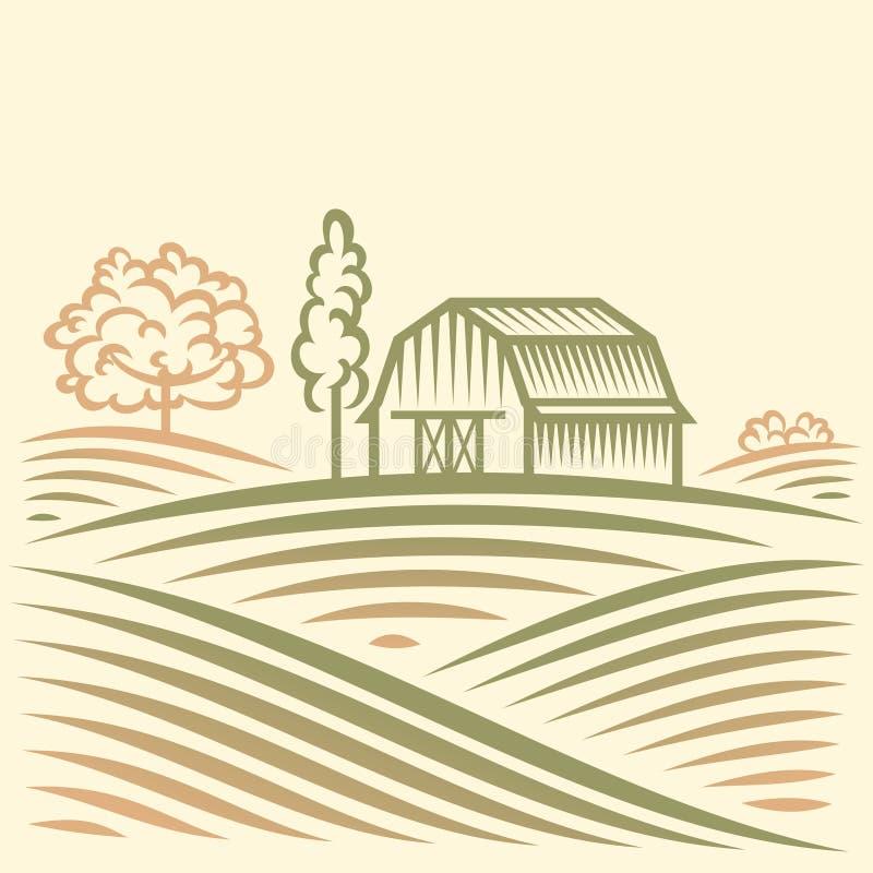 Paesaggio di agricoltura con il granaio e gli alberi illustrazione vettoriale