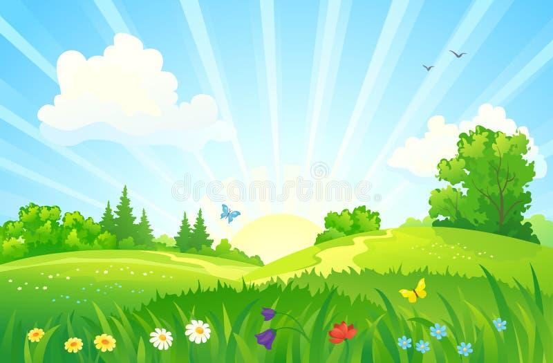 Paesaggio di alba di estate royalty illustrazione gratis