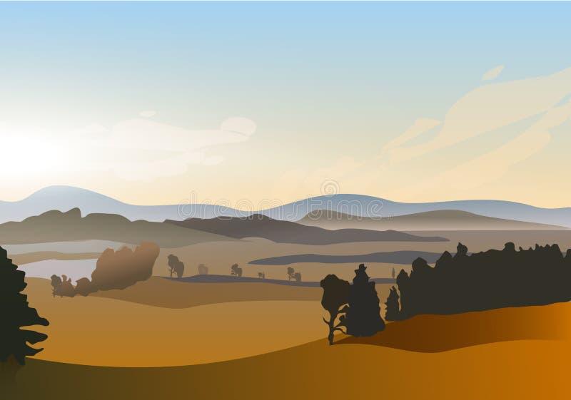 Paesaggio di alba di mattina di inverno di vettore con lo stagno e le colline royalty illustrazione gratis
