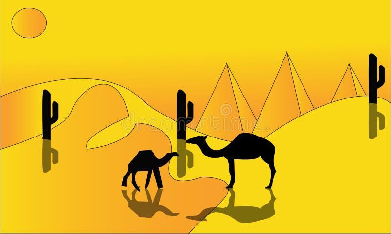Paesaggio di animazione: deserto, caravan dei cammelli Illustrazione di vettore - Un'illustrazione calda del paesaggio del desert royalty illustrazione gratis