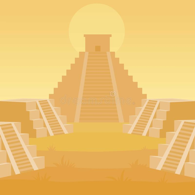 Paesaggio di animazione di una maya della piramide illustrazione vettoriale