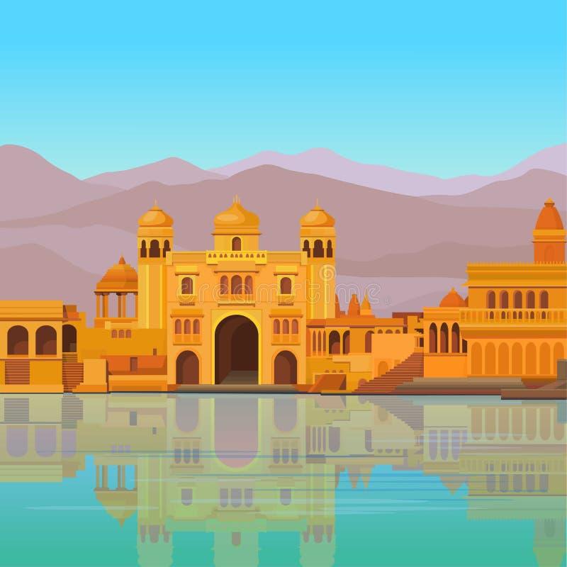 Paesaggio di animazione: il palazzo indiano antico sulla sponda del fiume illustrazione vettoriale