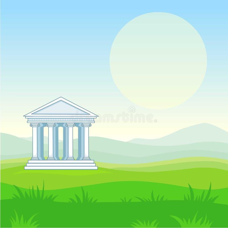 Paesaggio di animazione: valle della montagna, tempio antico Illustrazione di vettore illustrazione vettoriale