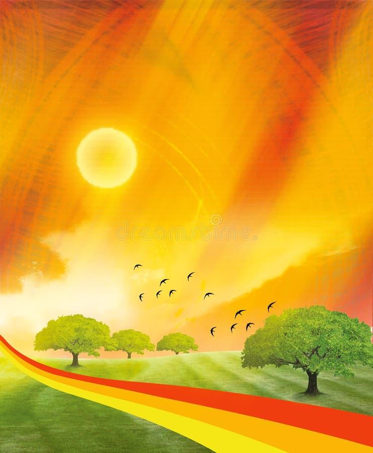 Paesaggio di aumento di Sun illustrazione vettoriale