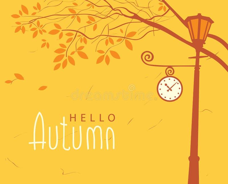 Paesaggio di autunno con gli alberi nel parco e nell'orologio illustrazione di stock