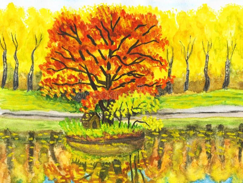 Paesaggio di autunno con l'albero rosso, verniciante illustrazione vettoriale