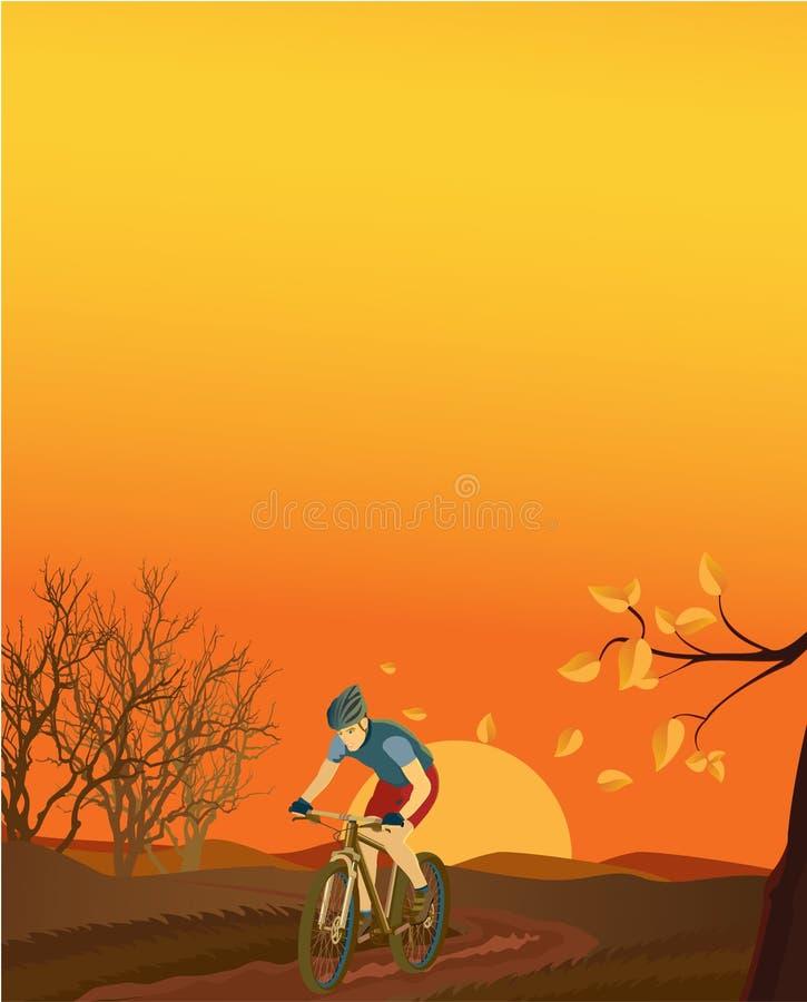 Paesaggio di autunno con un motociclista della montagna. illustrazione vettoriale