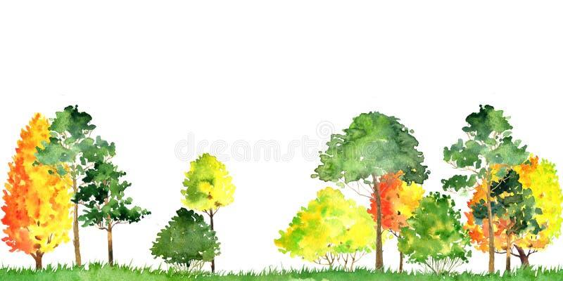 Paesaggio di autunno dell'acquerello con gli alberi illustrazione di stock