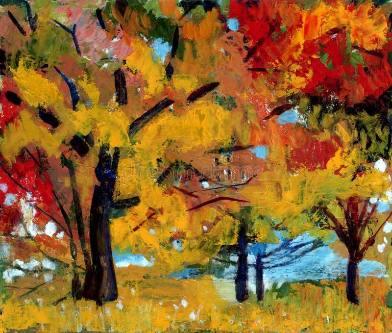 Paesaggio di autunno della pittura a olio illustrazione di stock