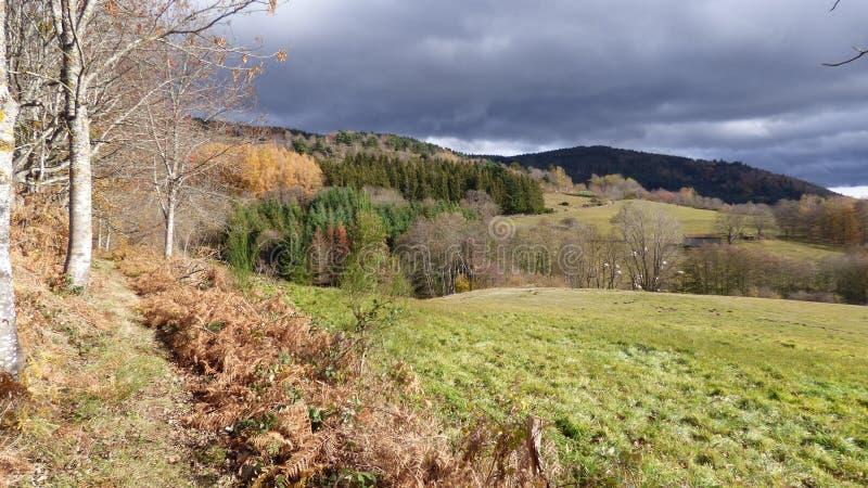 Paesaggio di autunno nel forez di livradois, auvergne Francia fotografia stock libera da diritti