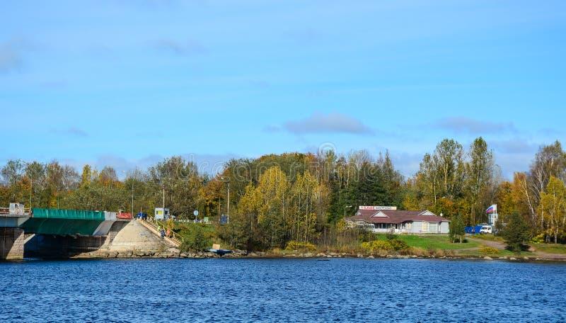 Paesaggio di autunno in Vyborg, Russia immagine stock