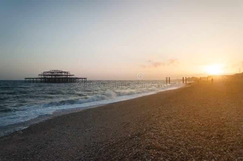 Paesaggio di Brighton al tramonto immagine stock