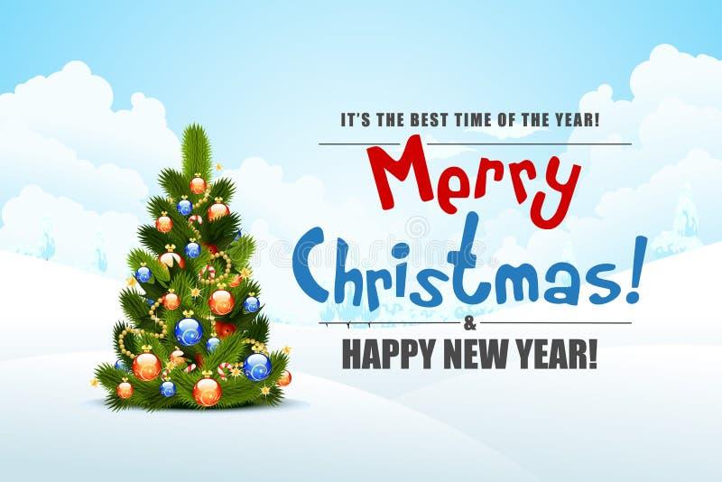 Paesaggio di Buon Natale illustrazione vettoriale