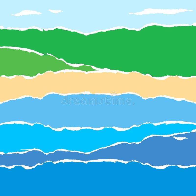 Paesaggio di carta astratto del litorale illustrazione vettoriale