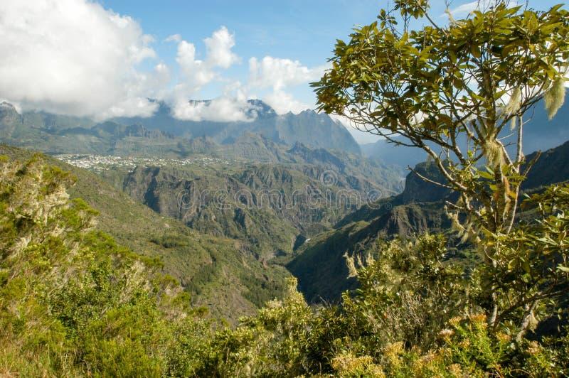 Paesaggio di Cirque di Cilaos su La Reunion Island fotografia stock
