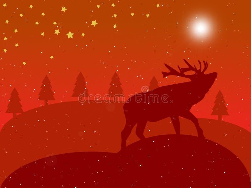 Paesaggio di colore rosso di natale royalty illustrazione gratis