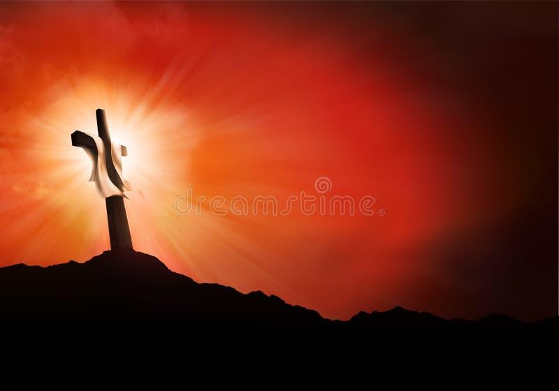 Paesaggio di crocifissione o di resurrezione al tramonto con i raggi di luce Concetto di Christian Easter illustrazione vettoriale