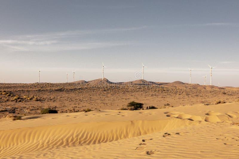 Paesaggio di deserto del Thar, vista della zona di Thar, nel Ragiastan immagini stock libere da diritti