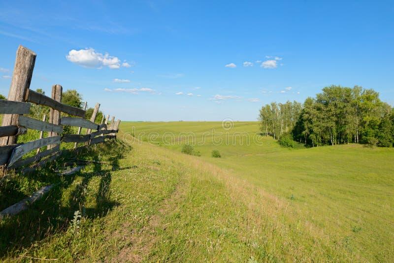 Paesaggio di estate con i burroni ed il vecchio recinto di legno immagini stock libere da diritti