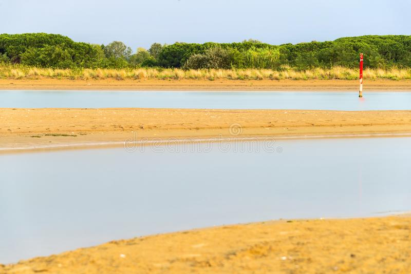 Paesaggio di estate dentro la laguna di Bibione immagine stock