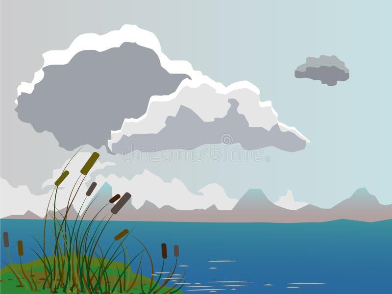 Paesaggio di estate di vettore Paesaggio nuvoloso di giorno illustrazione vettoriale