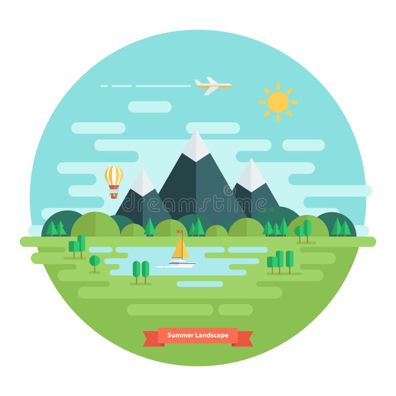 Paesaggio di ESTATE Paesaggio della natura con il sole, le montagne e le nuvole Giorno pieno di sole illustrazione vettoriale