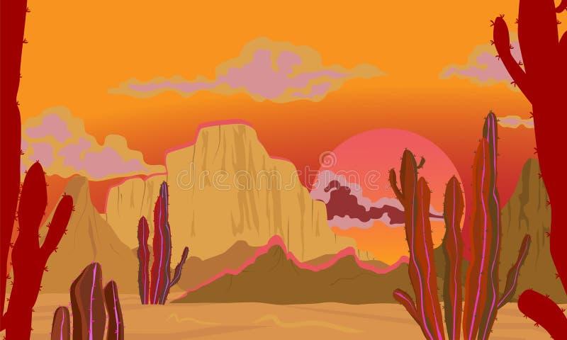 Paesaggio di ESTATE Paesaggio nei toni rossi Deserto con i cactus, sole scottante illustrazione vettoriale