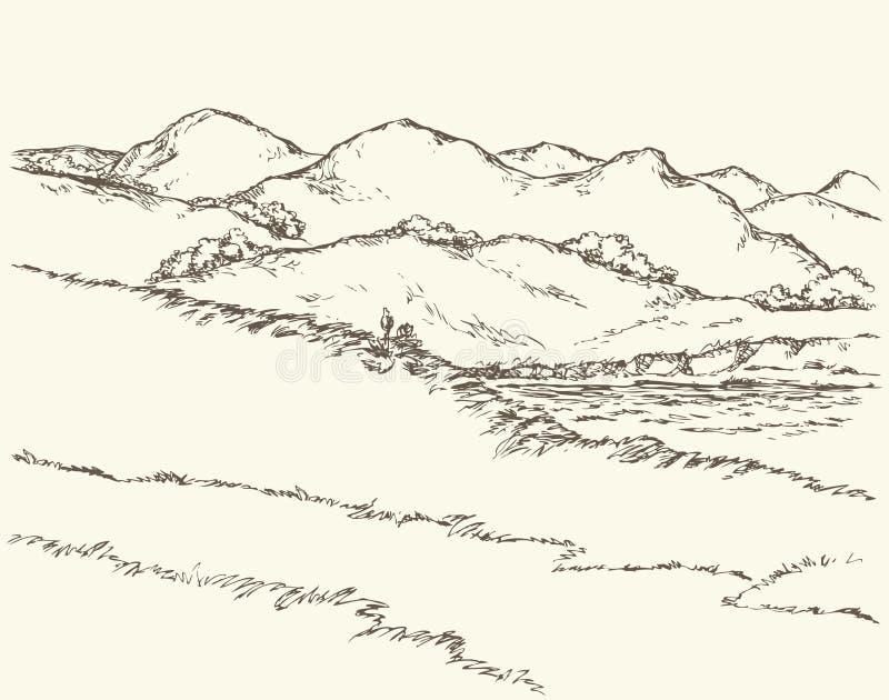 Paesaggio di ESTATE Schizzo di vettore illustrazione vettoriale