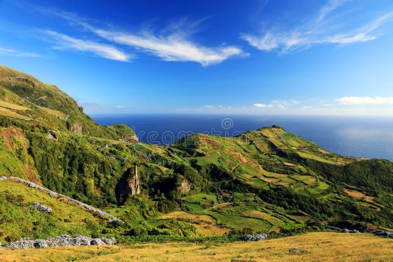 Paesaggio di estate sull'isola del Flores fotografia stock