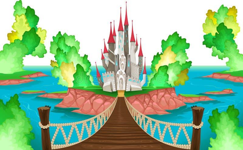 Paesaggio di fantasia con il castello, cielo bianco illustrazione di stock