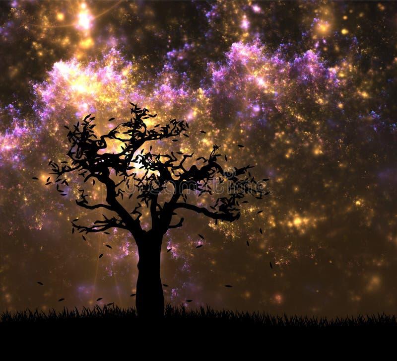 Paesaggio di fantasia con l'albero di autunno sopra il cielo notturno illustrazione vettoriale