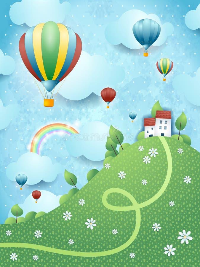 Paesaggio di fantasia con la collina e le mongolfiere royalty illustrazione gratis