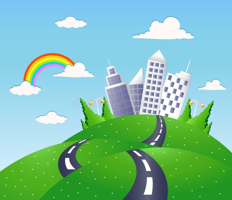 Paesaggio di fantasia con la strada royalty illustrazione gratis