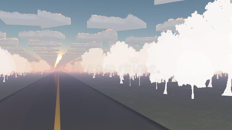 Paesaggio di fantasia con la strada circondata dagli alberi di carta royalty illustrazione gratis