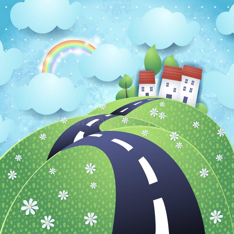 Paesaggio di fantasia con la strada collinosa illustrazione vettoriale