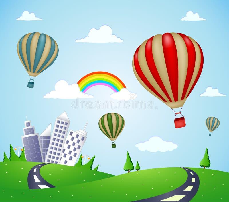 Paesaggio di fantasia con la strada e la mongolfiera illustrazione vettoriale