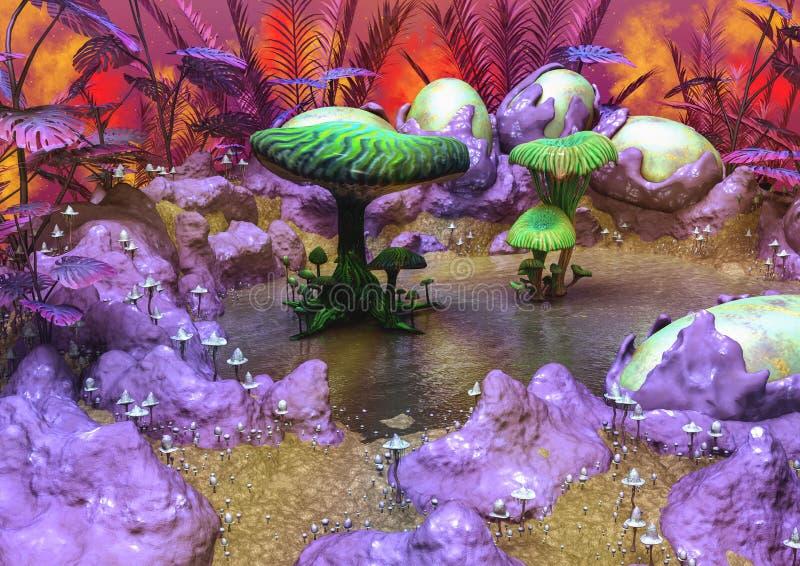 Download Paesaggio Di Fantasia In Pieno Dei Funghi Illustrazione di Stock - Illustrazione di background, funghi: 117979611