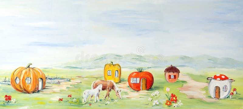 Paesaggio di favola dell'azienda agricola illustrazione vettoriale