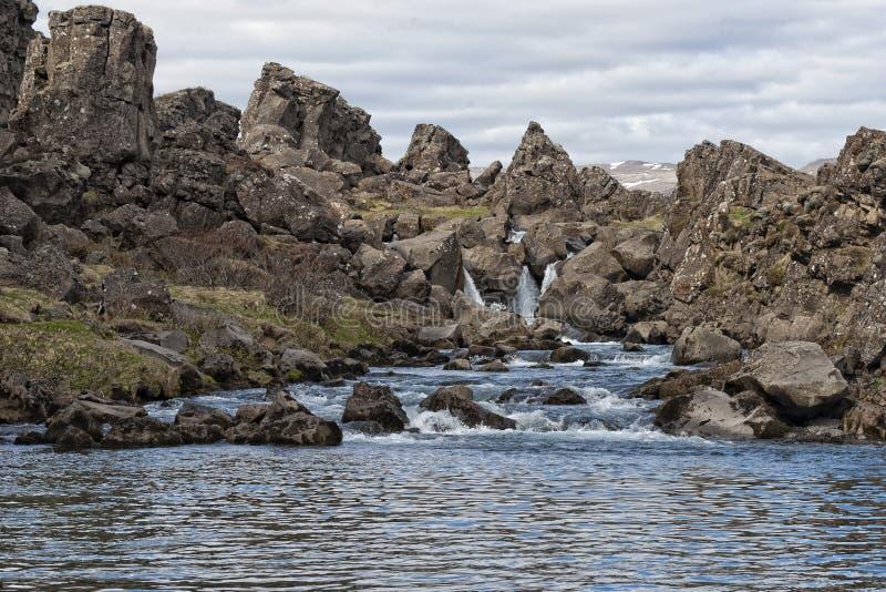 Paesaggio di frattura della terra di Pingvellir Islanda fotografia stock
