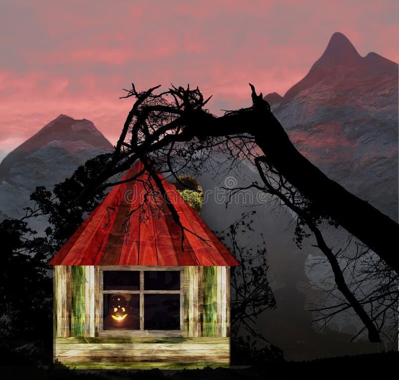 Paesaggio di Halloween con la casa, le montagne e le siluette di legno degli alberi royalty illustrazione gratis