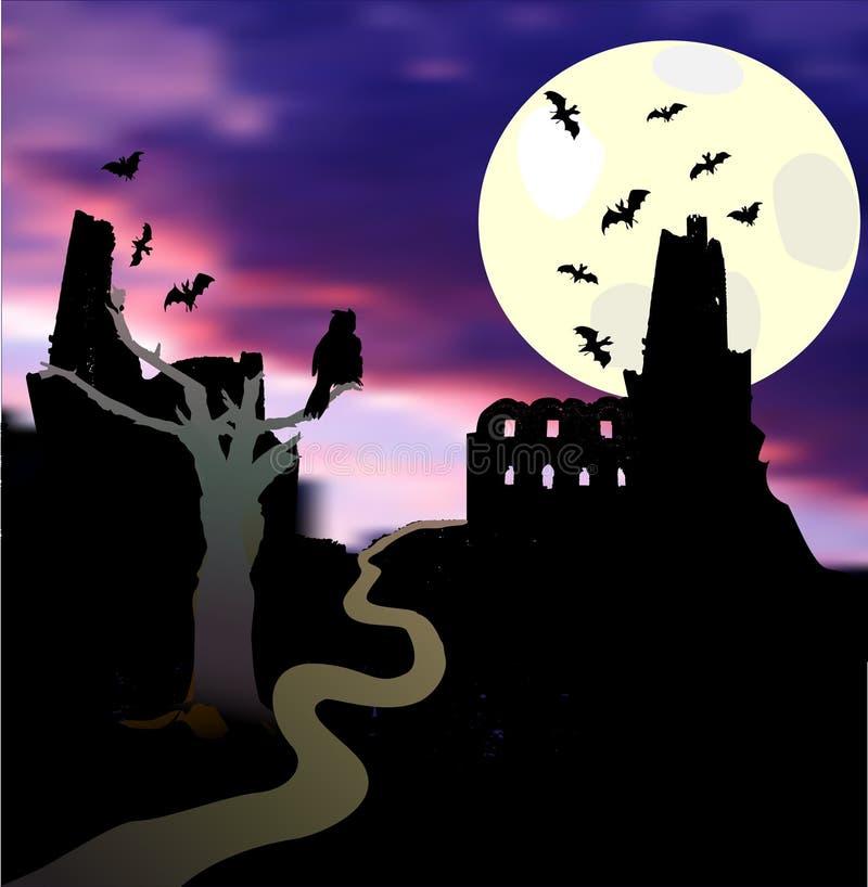 Paesaggio di Halloween con luce della luna, il castello, i pipistrelli, l'albero, il gufo ed il tramonto illustrazione di stock