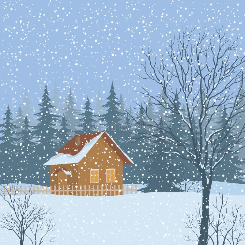 Paesaggio di inverno, Camera rustica royalty illustrazione gratis