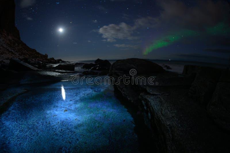 Paesaggio di inverno con Aurora Borealis e la luna piena luce nordica s nell'arcipelago di Lofoten, Norvegia fotografia stock