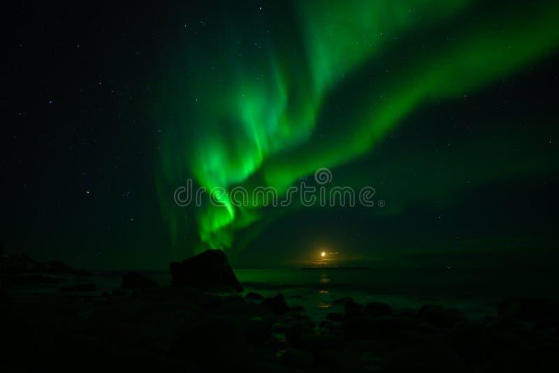 Paesaggio di inverno con Aurora Borealis e la luna piena luce nordica s nell'arcipelago di Lofoten, Norvegia fotografia stock libera da diritti