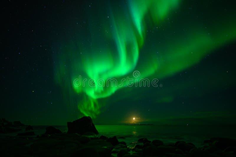 Paesaggio di inverno con Aurora Borealis e la luna piena luce nordica s nell'arcipelago di Lofoten, Norvegia immagine stock