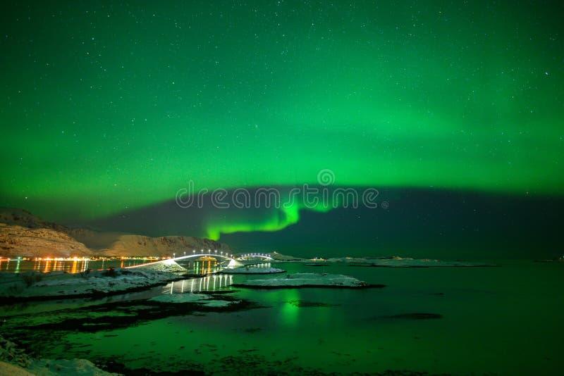 Paesaggio di inverno con Aurora Borealis luce nordica s nell'arcipelago di Lofoten, Norvegia immagine stock libera da diritti