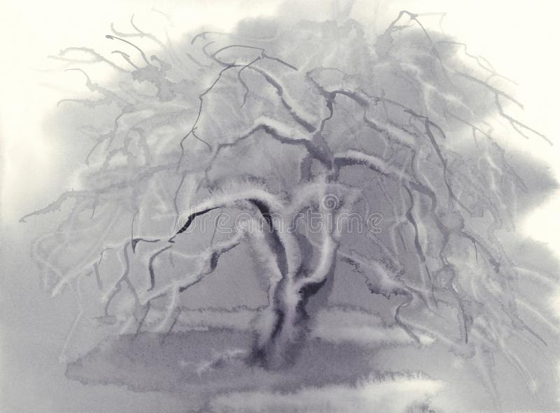 Paesaggio di inverno con e la neve di melo congelate Illustrazione dell'acquerello illustrazione di stock